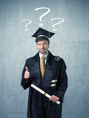 Young Graduate Teenager With Question Marks Drawn